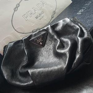 Prada black soft leather purse